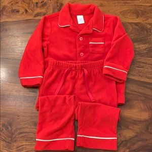 GAP Red Fleece Long-Sleeve PJ Set!